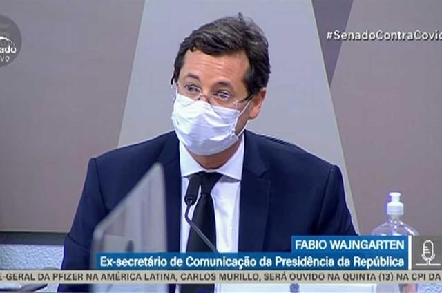 Fabio Wajngarten na CPI da Covid (Foto: Reprodução/TV Senado)