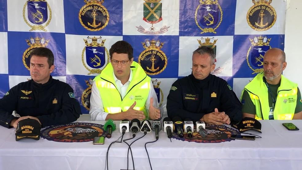 Ministro Ricardo Salles durante coletiva de imprensa em São Luís — Foto: Lucas Vieira/G1