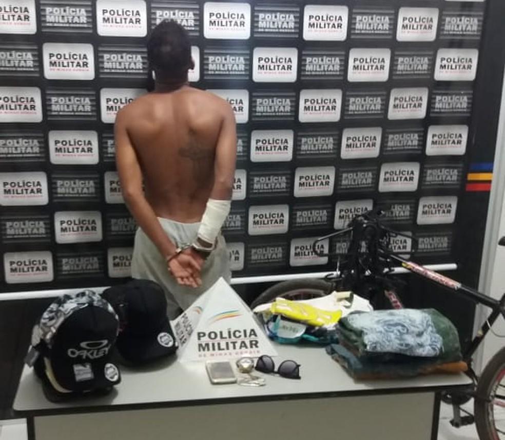 Homem confessou o furto aos militares (Foto: Polícia Militar/Divulgação)