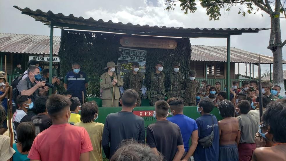 Miliatres na Terra Yanomami — Foto: Ministério da Defesa/Divulgação