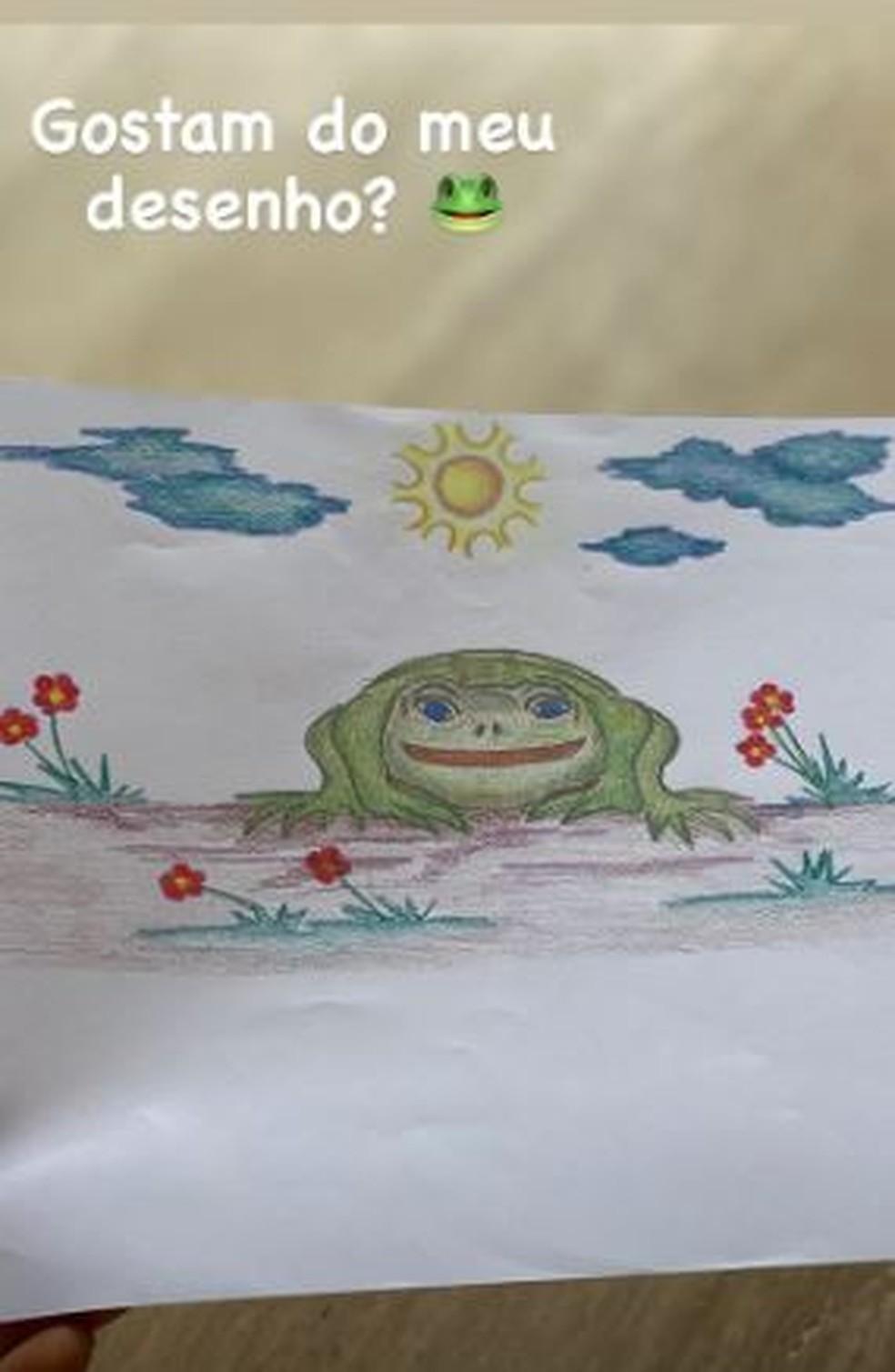 Paula Fernandes mostra um dos seus hobbies: desenhar — Foto: Reprodução