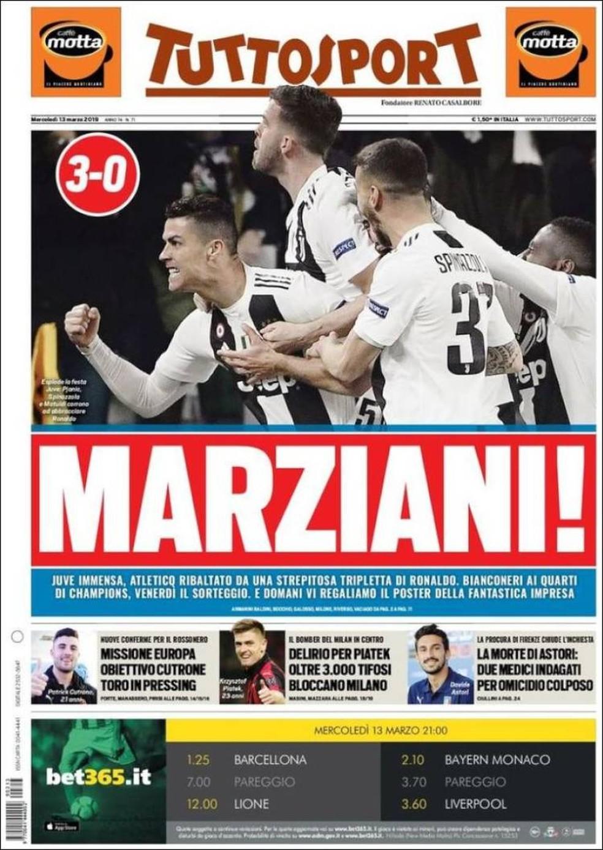 Capa Tutto Sport Juventus 3 x 0 Atlético de Madrid — Foto: Reprodução