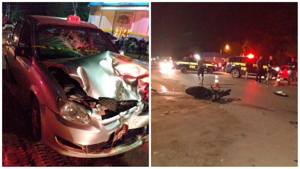 O táxi ficou com a frente destruída após colisão com a motocicleta que era dirigida por Jander Paes — Foto: Reprodução/Redes Sociais