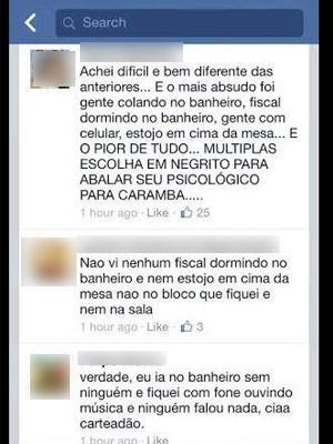 Alunos relatam descaso dos fiscais (Foto: Reprodução / Facebook)