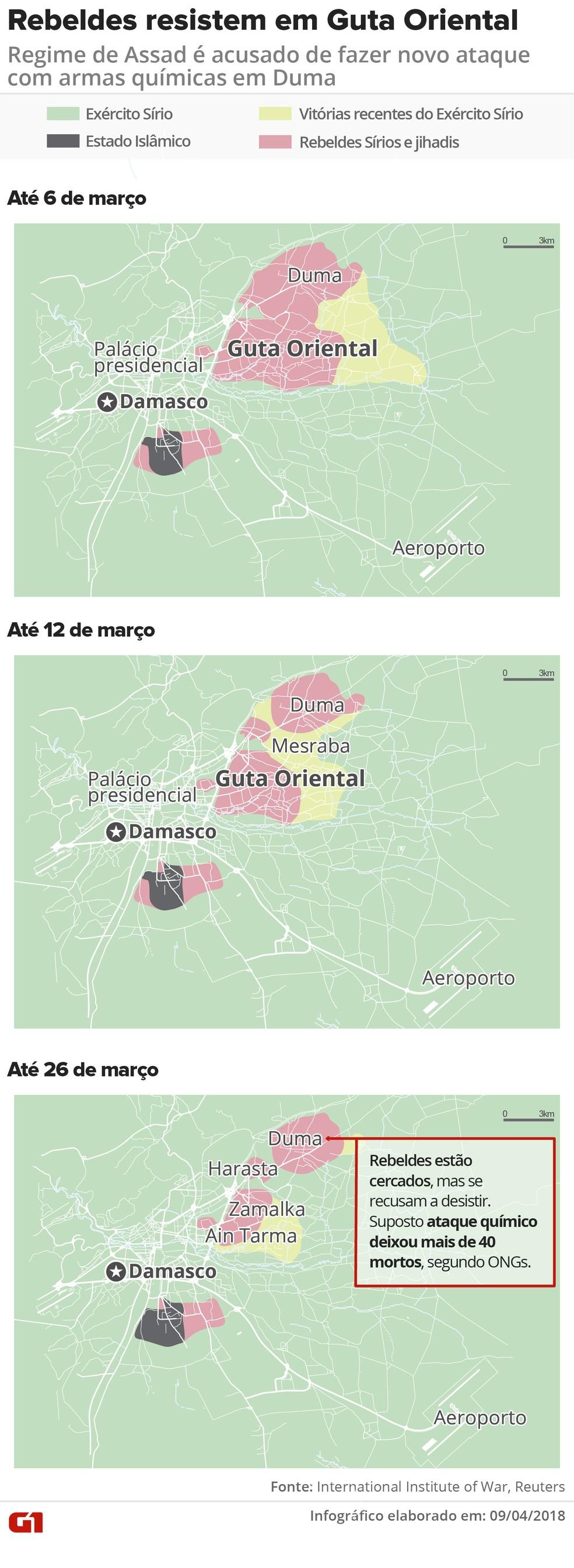 Mapa mostra avanço de Assad em Guta Oriental (Foto: Infografia: Juliane Monteiro )