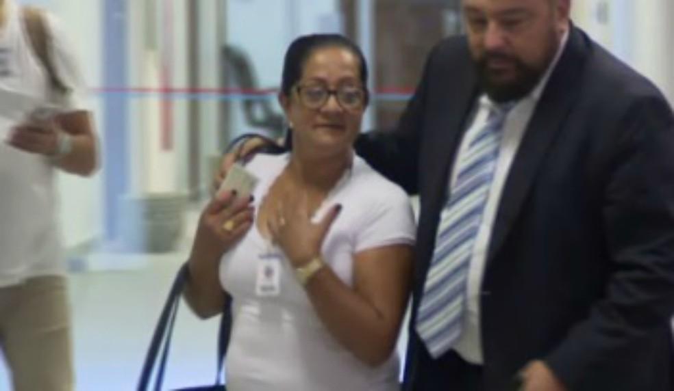 Gessi Rodrigues prestou depoimento à Justiça na manhã desta quarta-feira (3). — Foto: Reprodução/RPC