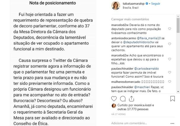 Nota de posicionamento da deputada federal Tabata Amaral (Foto: Reprodução/Instagram)