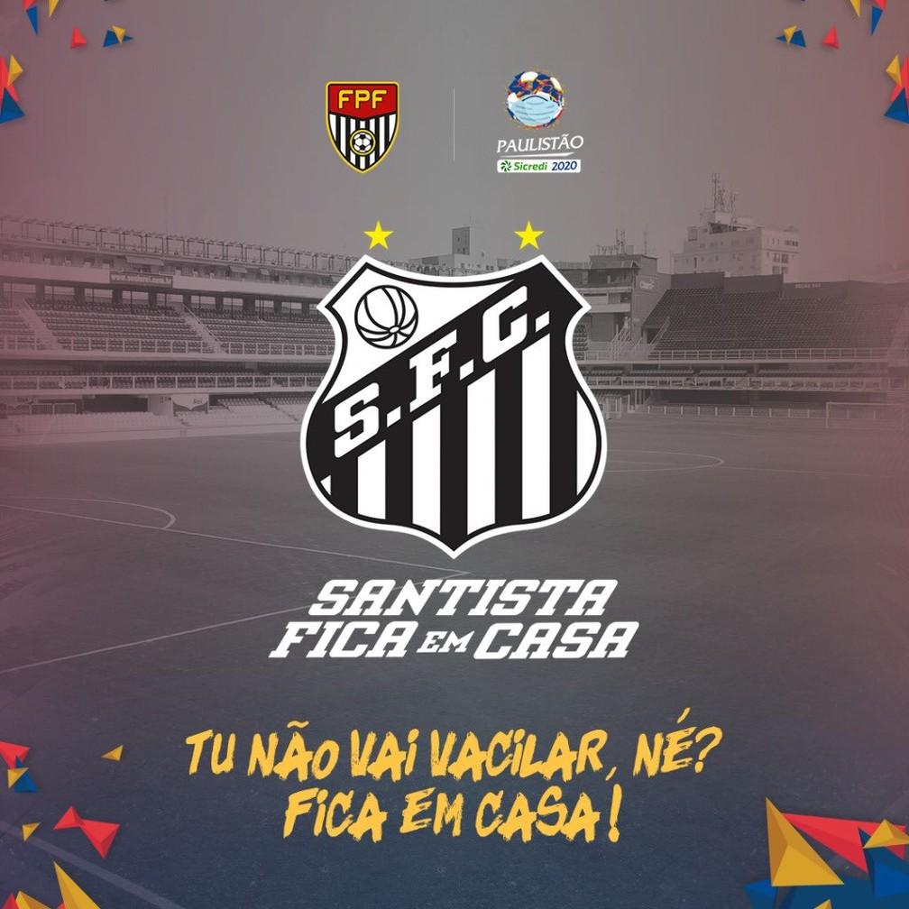 Santos adapta escudo em campanha contra o novo coronavírus — Foto: Reprodução Twitter