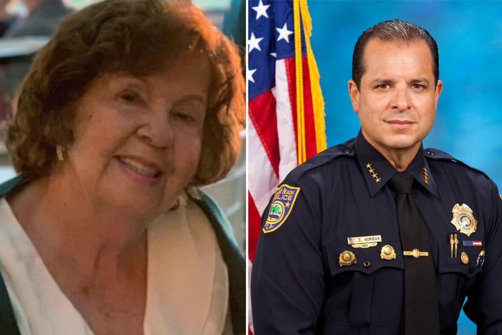 Montagem com as fotos de Hilda Noriega e seu filho, o chefe de polícia Carlos Noriega — Foto: Redes Sociais e Polícia de Miami/G1