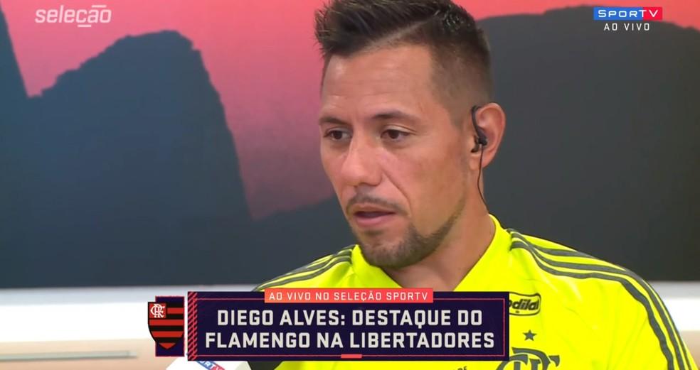 Diego Alves é o convidado do Seleção SporTV — Foto: Reprodução/SporTV