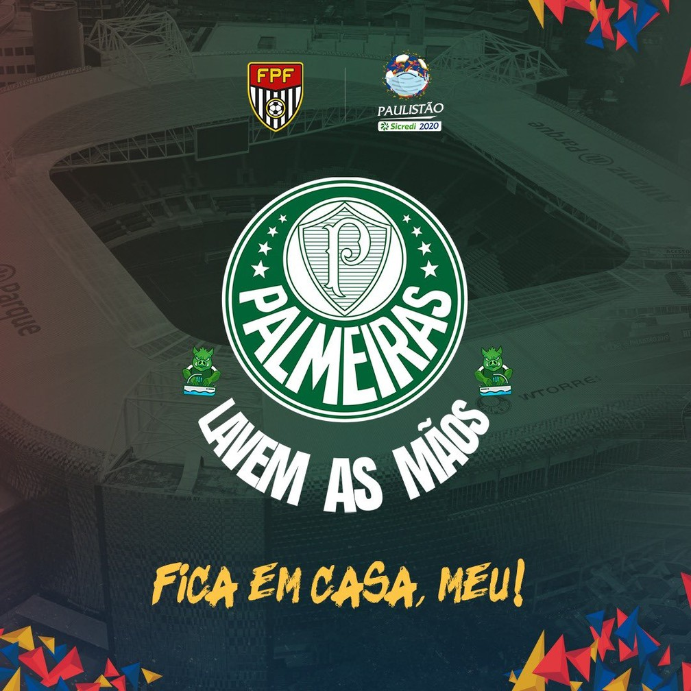 Palmeiras adapta escudo em campanha contra o novo coronavírus — Foto: Reprodução Twitter