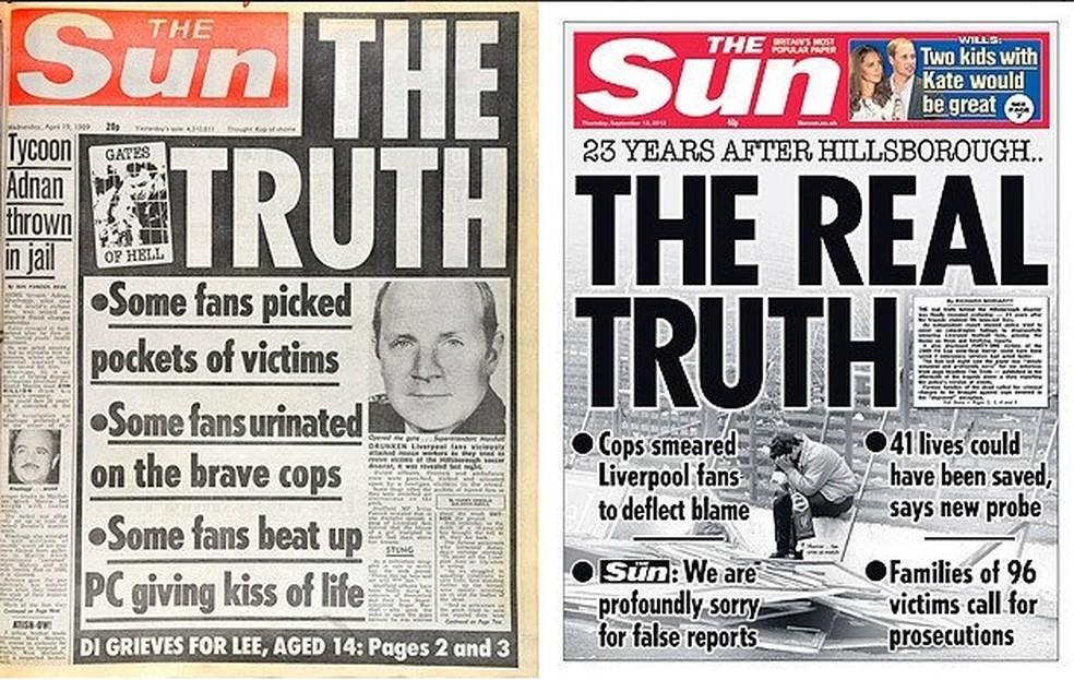 Capa do The Sun em 1989, culpando torcedores; e em 2012, reconhecendo o erro — Foto: Reprodução / The Sun
