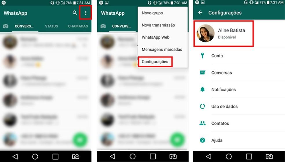 Acesse as configurações do WhatsApp para mudar seu