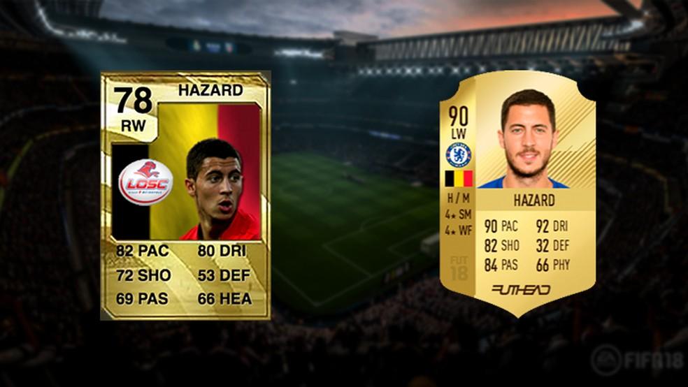 Desde seu destaque pelo Lille, Hazard se tornou um dos melhores no Ultimate Team (Foto: Reprodução/Murilo Molina)