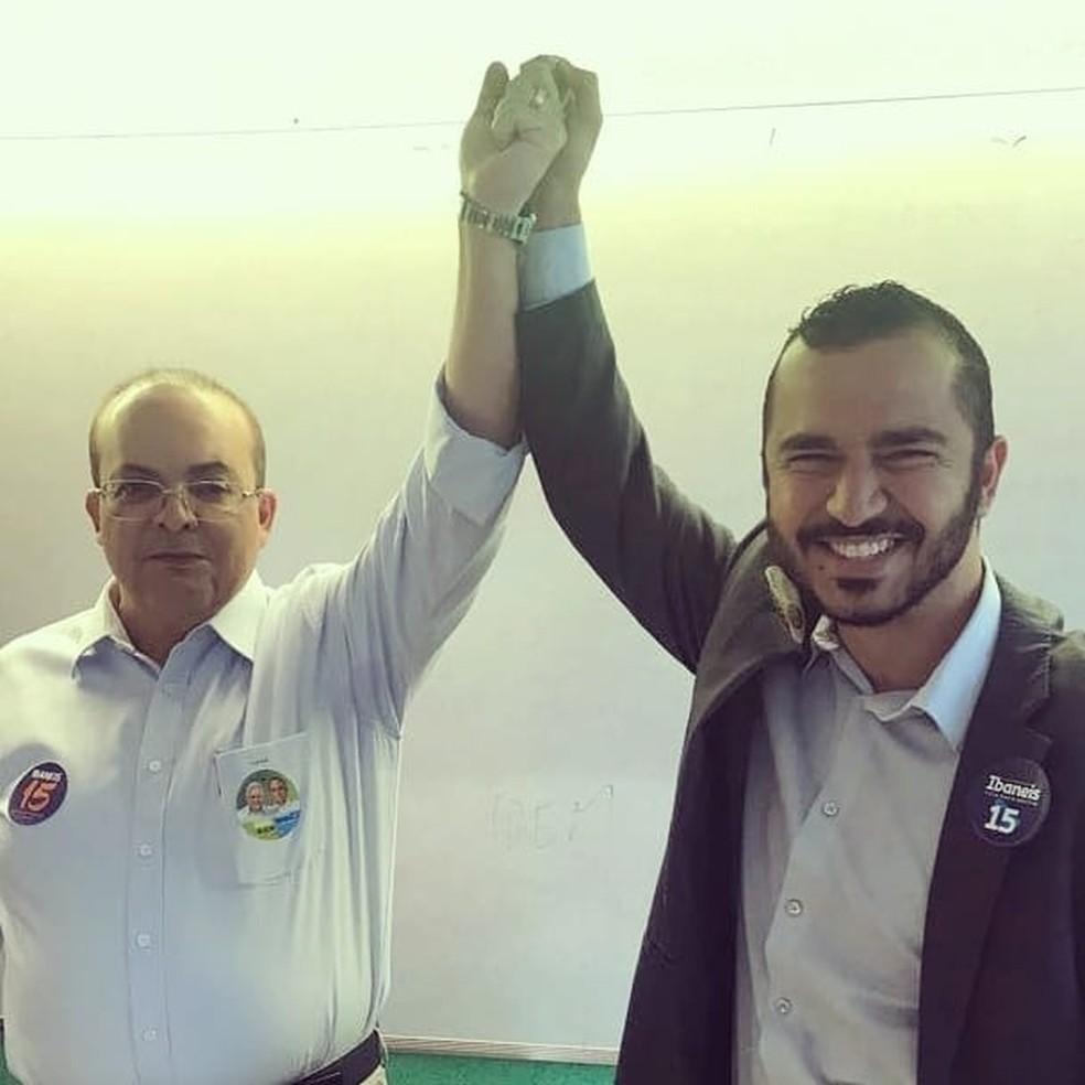 O subcontrolador Paulo Wanderson com o governador do DF, Ibaneis Rocha (MDB) — Foto: Reprodução/Facebook
