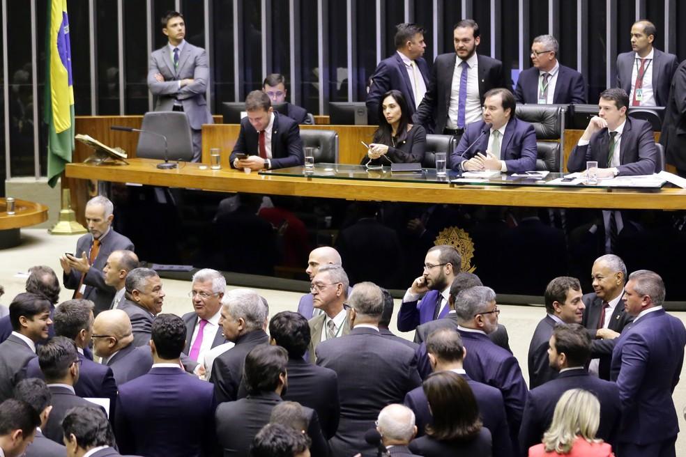 Deputados reunidos no plenário da Câmara durante a sessão desta quarta-feira (29) — Foto: Michel Jesus/Câmara dos Deputados