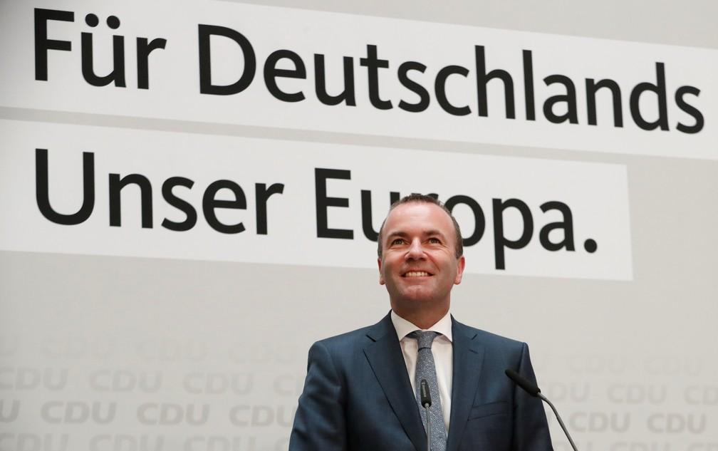 Manfred Weber, do partido liberal-conservador CDU, pode se tornar o próximo presidente da Comissão Europeia — Foto: Hannibal Hanschke/Reuters