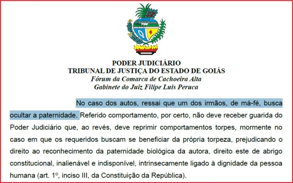 Em trecho de deisão, juiz ressalta a má-fé dos gêmeos em ocultar a paternidade  — Foto: Reprodução/Tribunal de Justiça
