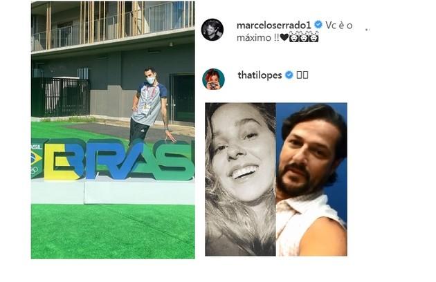 Thati Lopes (que colocou emojis de coração) e Marcelo Serrado mostraram sua torcida para o jogador (Foto: Reprodução)