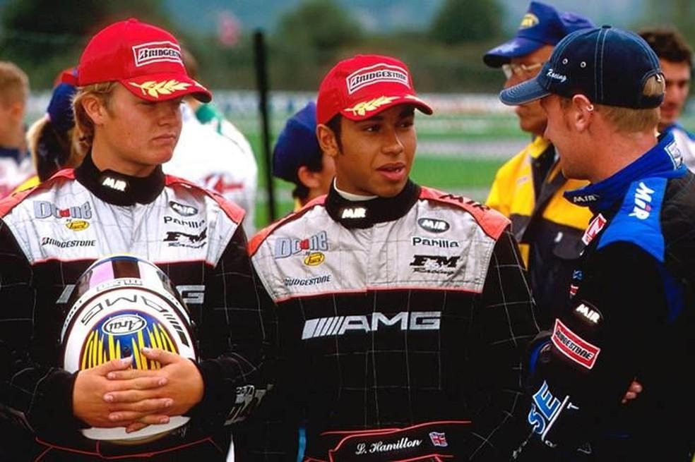 Hamilton em 2001 quando ainda corria no kart — Foto: Reprodução