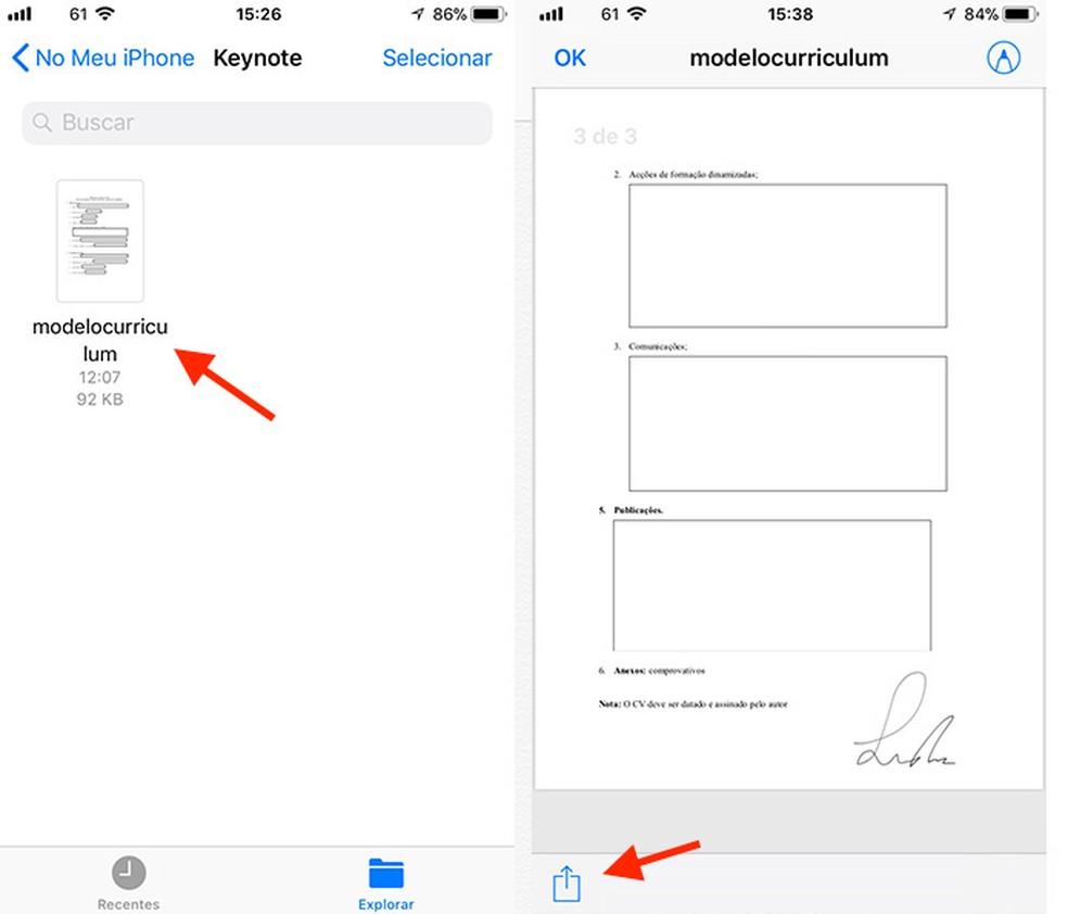 Caminho para visualizar as opções de compartilhamento de um documento assinado pelo app Arquivos do iPhone (Foto: Reprodução/Marvin Costa)