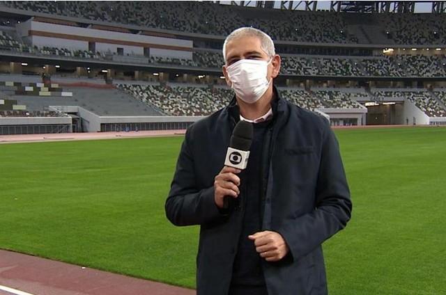Carlos Gil no Estádio Nacional de Tóquio  (Foto: TV Globo)