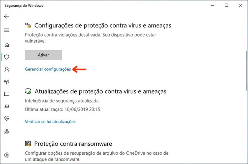 Caminho para as configurações de proteção contra vírus e ameaças do Windows 10 — Foto: Reprodução/Raquel Freire