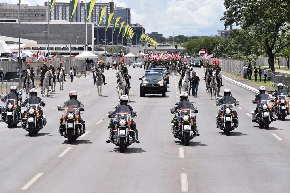 Último ensaio para a posse de Jair Bolsonaro na Esplanada dos Ministérios, neste domingo (30) — Foto: Rafael Carvalho, Governo de Transição