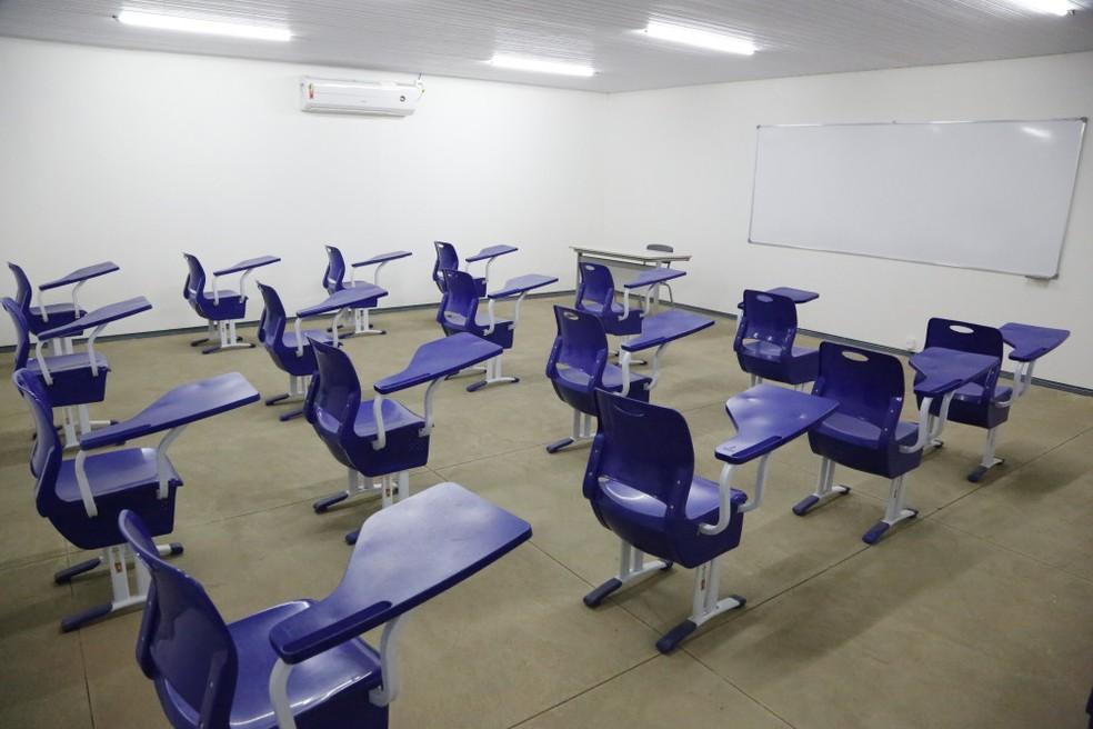 Sala de aula vazia  — Foto: Elias Oliveira