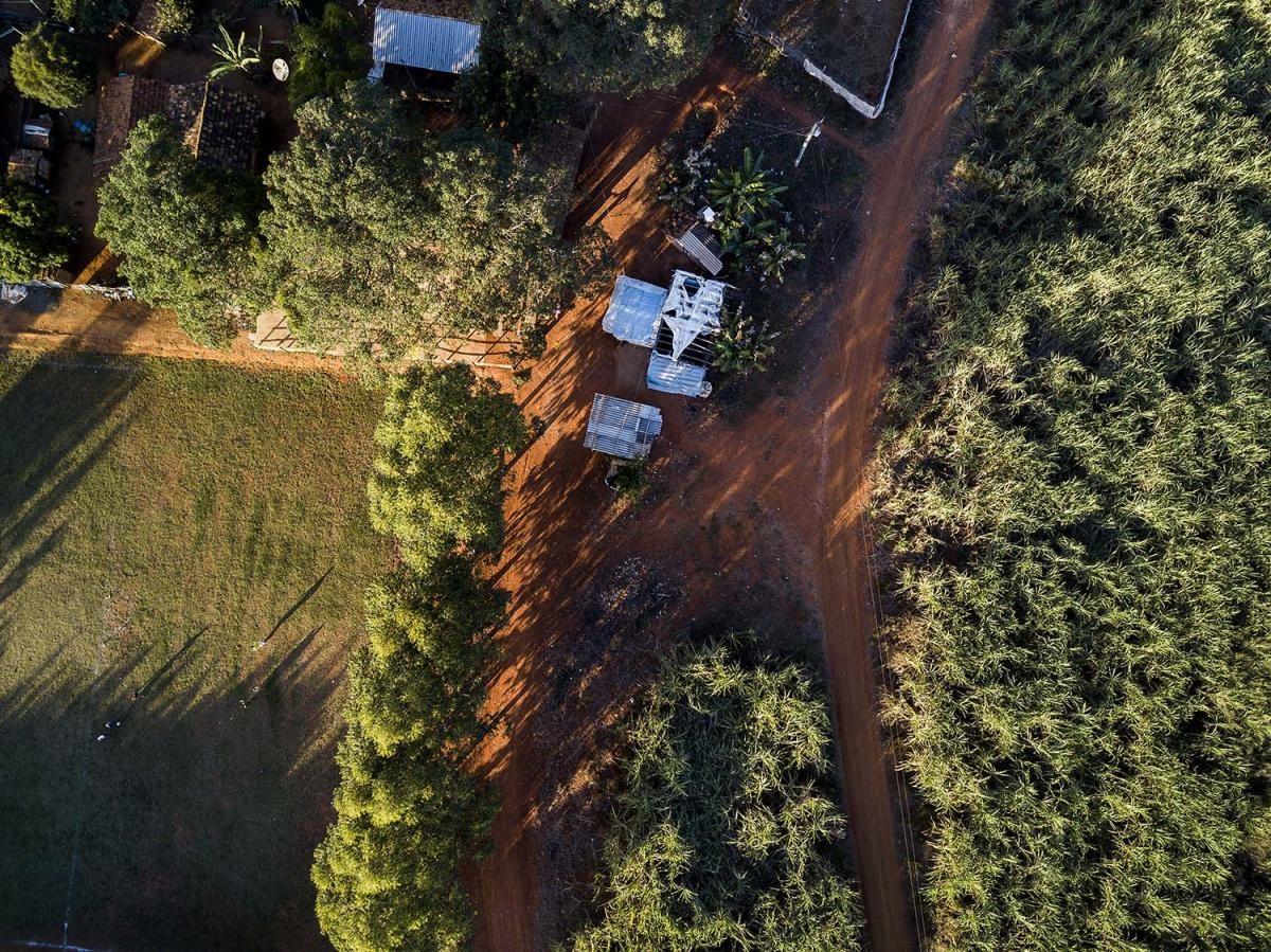 Comunidade quilombola a poucos metros de uma plantação de cana-de-açúcar. (Foto: Marizilda Cruppé / HRW)