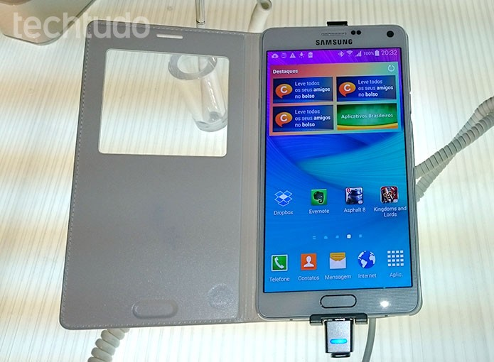 Tela de 5,7 polegadas Quad HD é grande trunfo do Note 4 (Foto:  Paulo Alves/TechTudo)