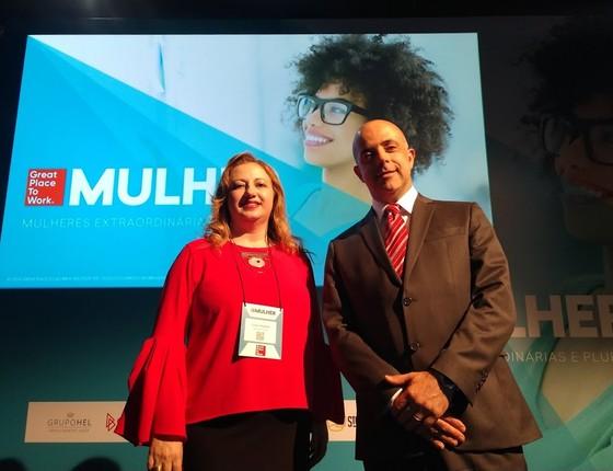 Os vencedores do GPTW Mulher: Lídia Abdala e José Netto (Foto: Paula Soprana)