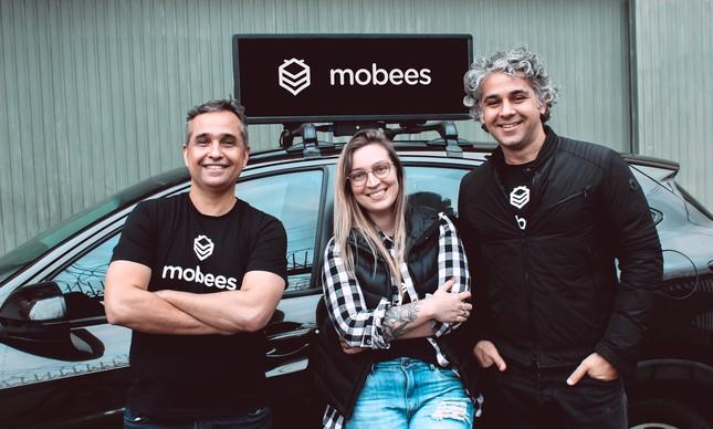 Os fundadores da Mobees José Lyra Junior, Flavia Coelho e Fabio Barcellos