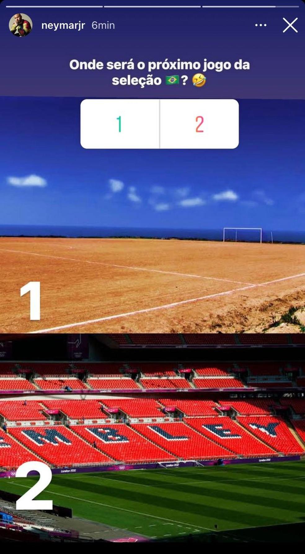 Publicação de Neymar no Instagram ironizando gramado em jogo da Seleção
