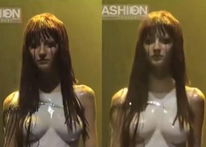 A modelo brasileira Gisele Bündchen no desfile em 1998 com o top feito com tinta em seu corpo (Foto: Reprodução)