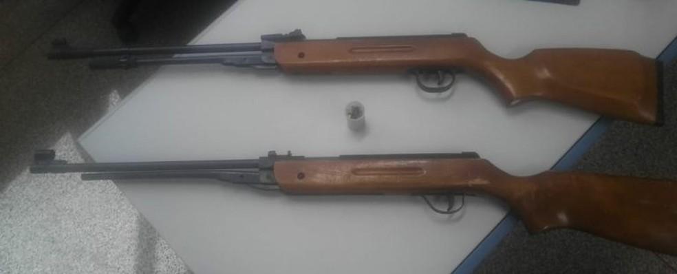 -  Armas foram apreendidas em chácara na zona rural  Foto: Polícia Civil/ Divulgação