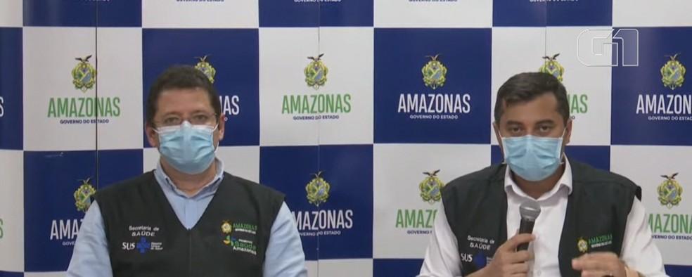 Ex-secretário da Saúde, Marcellus Campêlo (esq.) e o governador Wilson Lima (dir.) — Foto: Reprodução