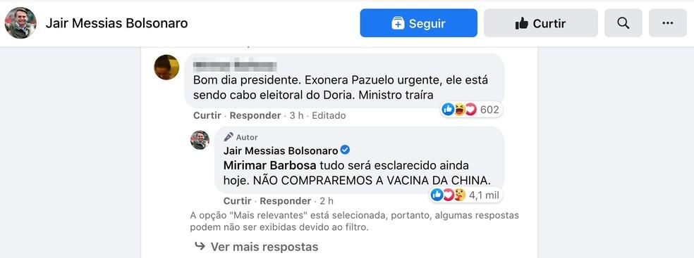 Presidente Jair Bolsonaro responde em rede social que não comprará vacina da China. — Foto: Reprodução