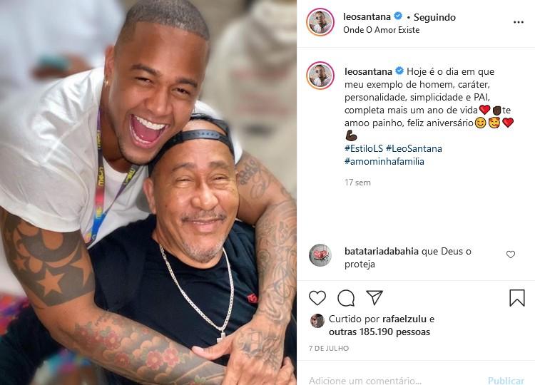 Léo Santana homenageou o pai, Lourival, no dia de seu aniversário (Foto: Reprodução/Instagram)