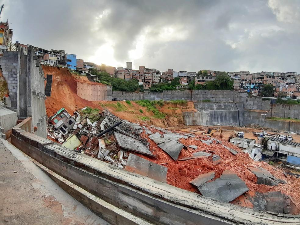 Parte dos imóveis interditados no bairro Fazenda Grande do Retiro, em Salvador, desabou  — Foto: Raphael Marques/TV Bahia