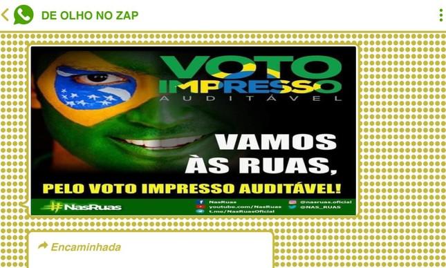 Bolsonaristas aproveitaram o momento para disseminar convocações para protestos a favor do voto impresso