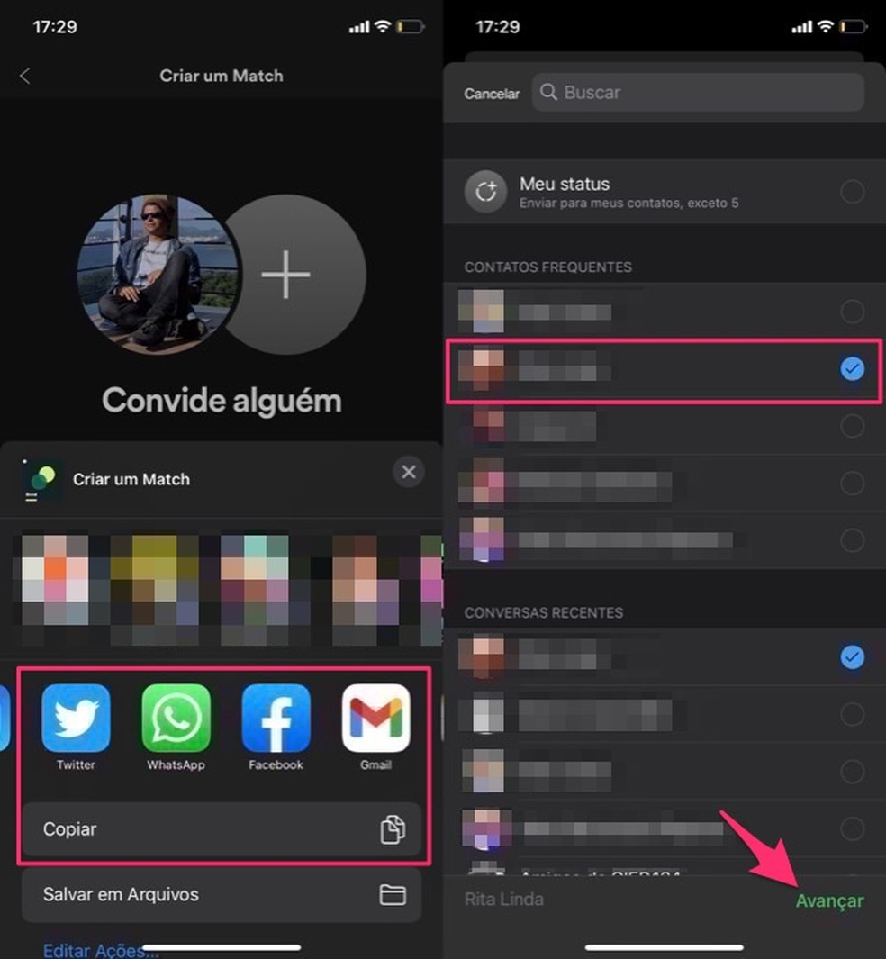 Ação para compartilhar playlist Spotify com uma pessoa — Foto: Reprodução/Marvin Costa