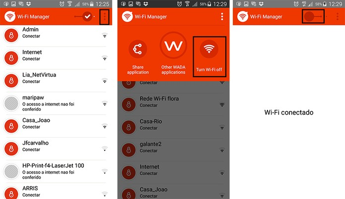 Desligar conexões Wi-Fi pelo WADA (Foto: Reprodução/Barbara Mannara)