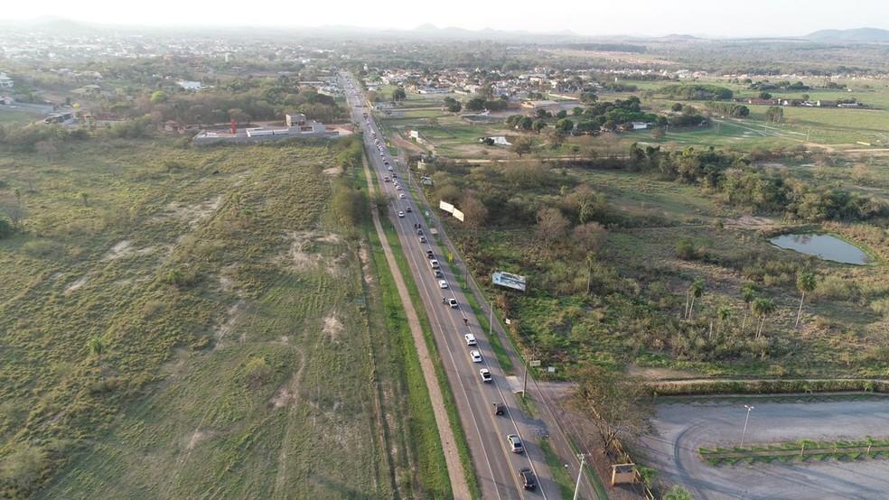 Fila de carros para entrar na cidade de Bonito (MS). — Foto: Secretaria de Turismo de Bonito/Divulgação