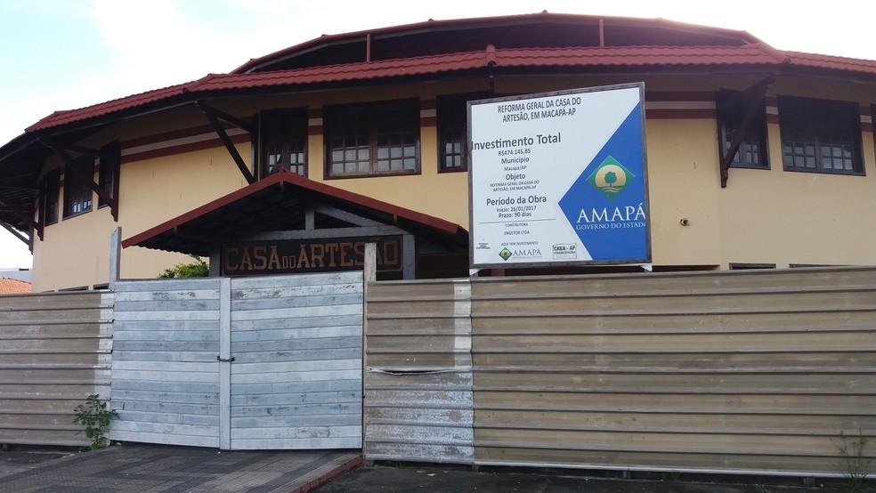 -  Casa do Artesão em Macapá é um dos principais pontos de visitação de turistas, mas está fechado para obras há 1 ano  Foto: Rita Torrinha/G1