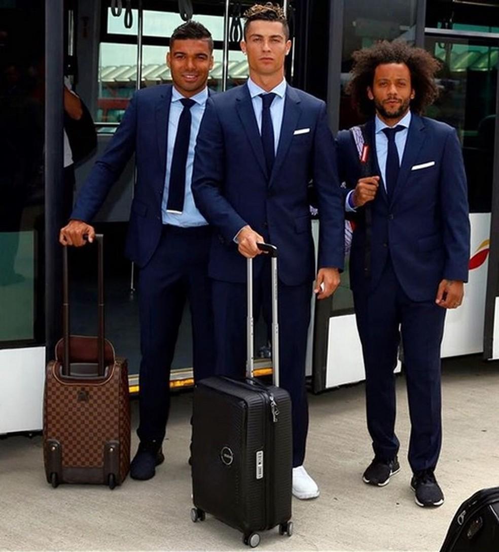 CR7, Casemiro e Marcelo no embarque para a final da Liga (Foto: Reprodução / Instagram)