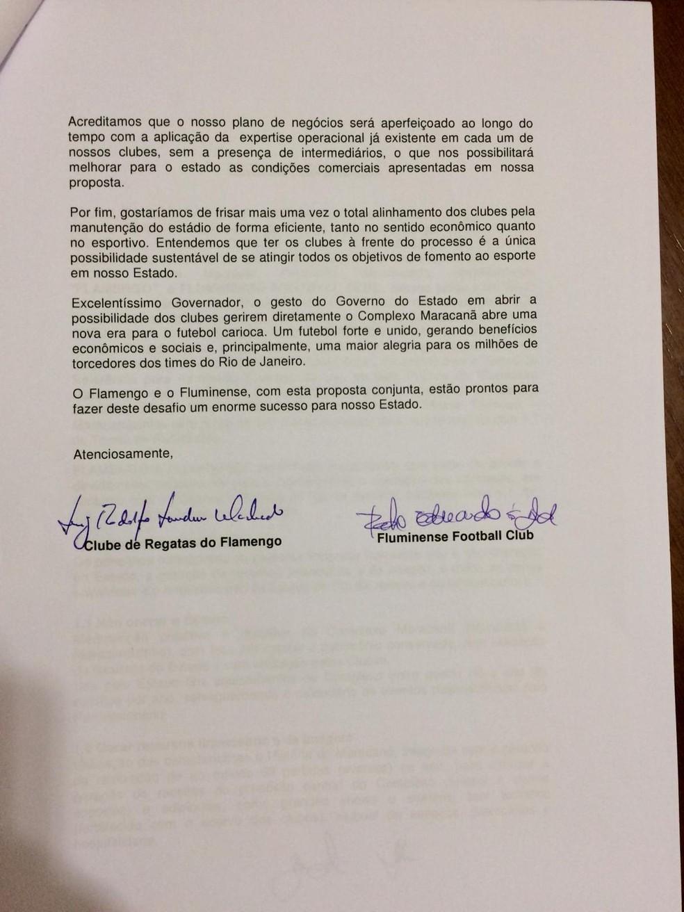 Segunda página da carta que Flamengo e Fluminense apresentaram ao governo — Foto: Reprodução