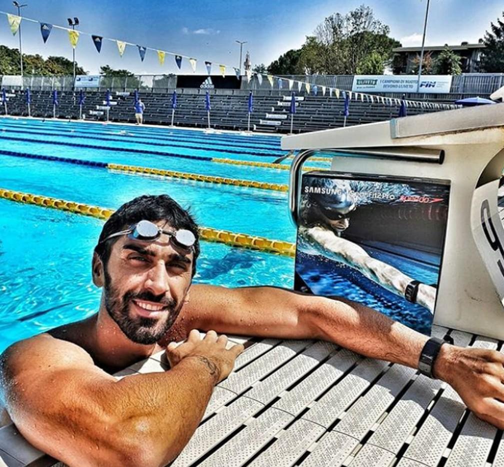 Magnini, ex-campeão mundial e medalhista olímpico, entrou na água depois que amigos de Benedetto pediram ajuda aos frequentadores de Cala Sinzias, no leste de Cagliari, capital da Sardenha.  — Foto: Reprodução/Instagram