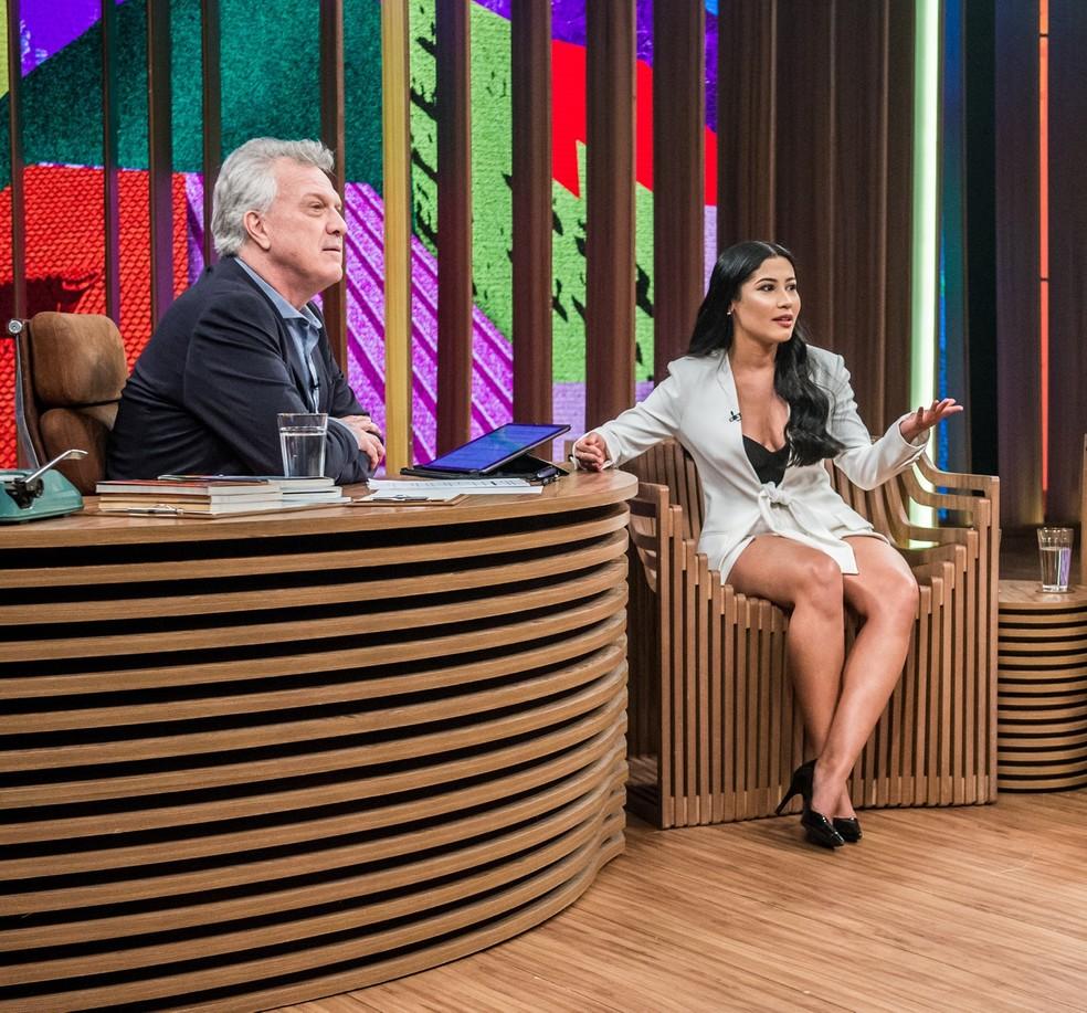 Thaynara OG participa de programa global 'Conversa com Bial' (Foto: Reprodução/TV Globo)