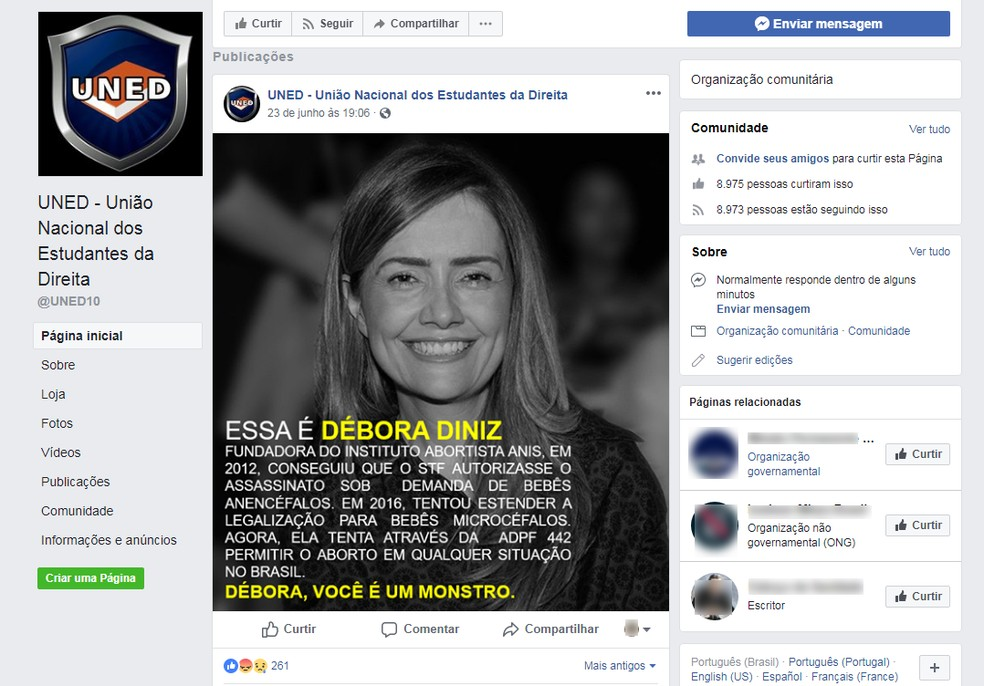 Postagem na internet chama de 'monstro' a professora Débora Diniz  (Foto: Facebook/Reprodução)